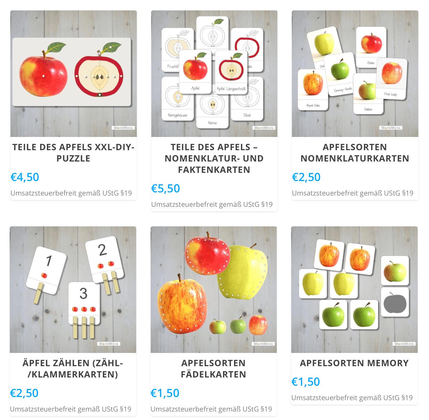 Apfel-Druckvorlagen-Montessori Zuhause-Spielidee-Apfel Themenwoche-Herbst mit Kindern-Apfelzeit-Unterrichtsmaterial-Kindergartenideen-MontiMinis