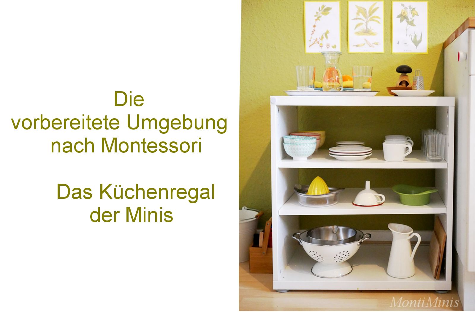 die vorbereitete umgebung nach montessori das k chenregal montiminis. Black Bedroom Furniture Sets. Home Design Ideas