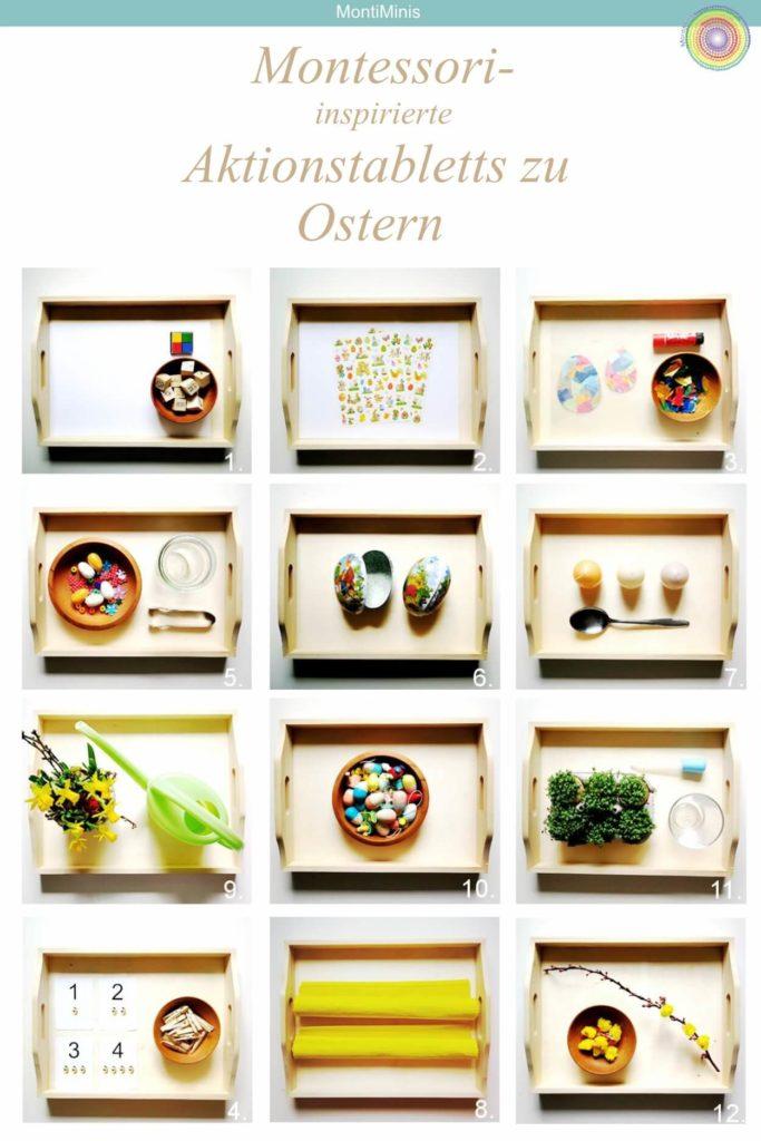 Montessori Aktionstabletts für Kinder zu Ostern, Spielideen für Kinder zu Ostern, Osterspiele, Montessori Easter trays | Montessori Blog MontiMinis.com