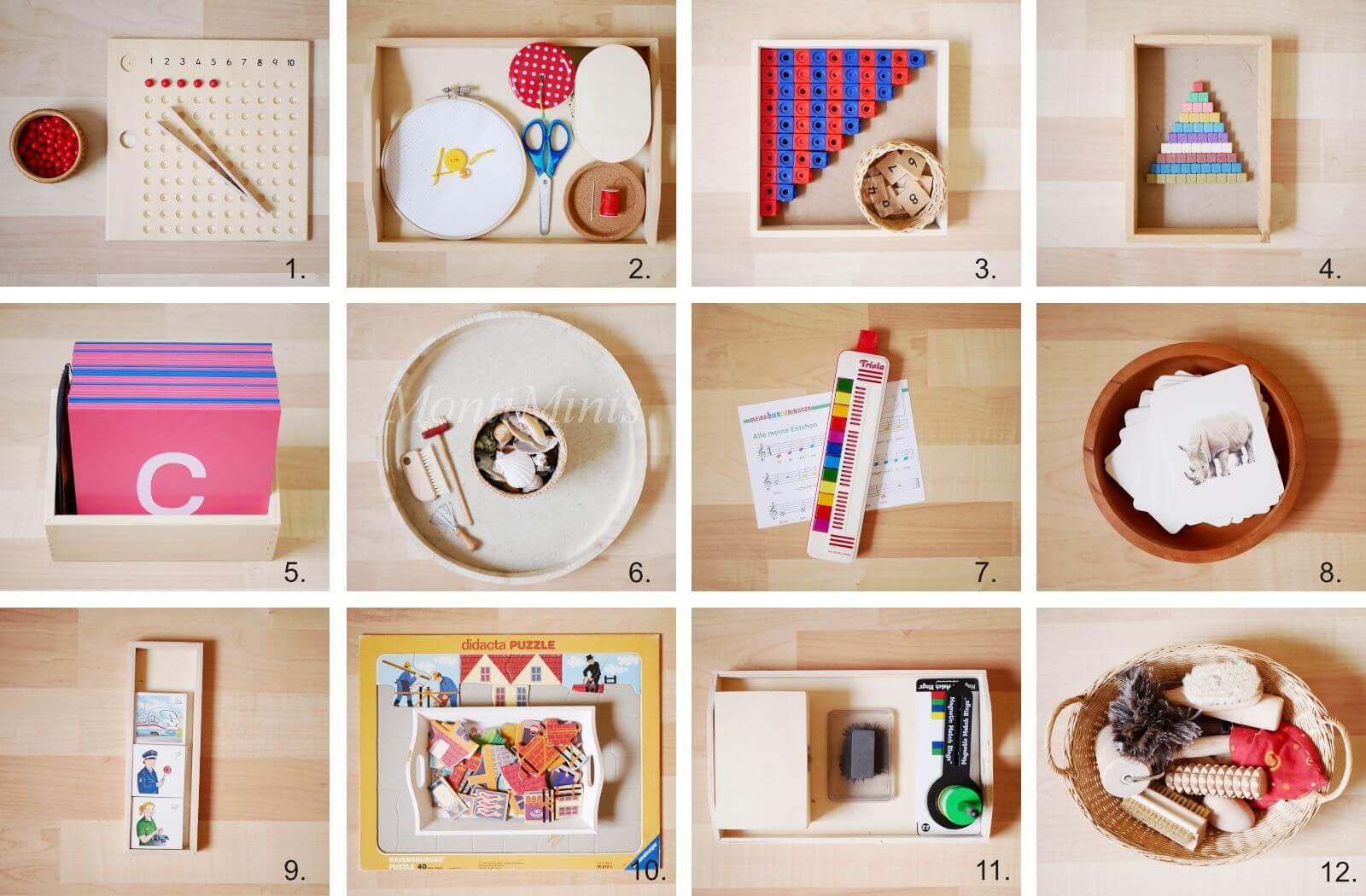 Montessori Zuhause: Auf seinem Montessori Regal mit 3,5 Jahren, Montessori Kinderzimmer, Spielideen nach Montessori für Kinder, Montessori shelf, Montessori selbstgemacht | MontiMinis.com
