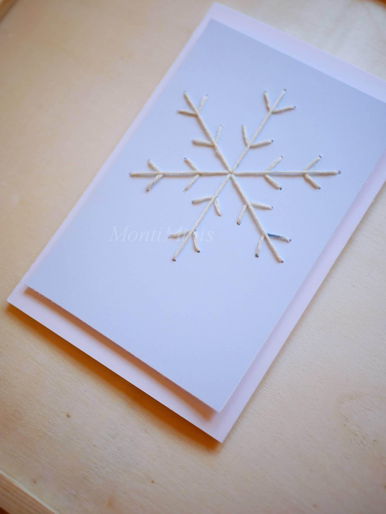 Weihnachtskarten sticken, Eiskristalle Stickvorlage, Sticken mit Kindern, Prickeln, Eiskristalle, Übung des täglichen Lebens Montessori, Montessori Zuhause | MontiMinis.com