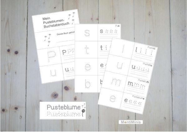 Löwenzahn-Pusteblume-Buchstabenbuch für Kinder, Lernmaterial, Montessori, Unterrrichtsidee, MontiMinis