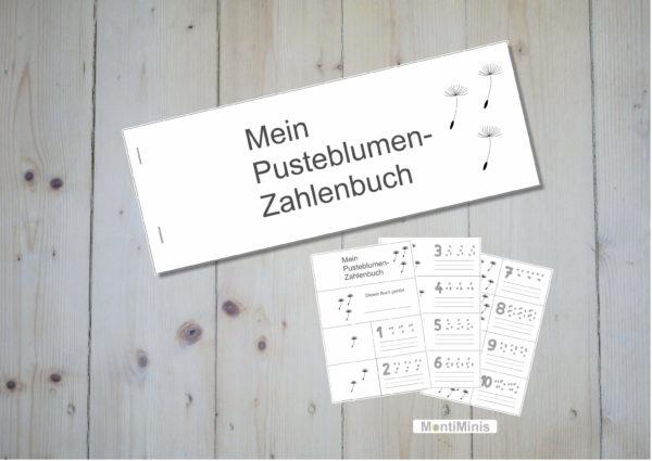 Löwenzahn-Pusteblume-Zahlenbuch für Kinder, Lernmaterial, Montessori, Unterrrichtsidee, MontiMinis