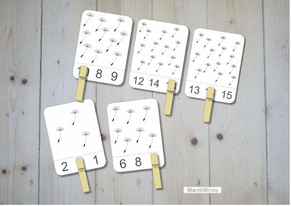 Pusteblumen-Löwenzahn-Zahlenkarten-Klammerkarten-Vorschule-Spielideen-Montessori-1-montiminis