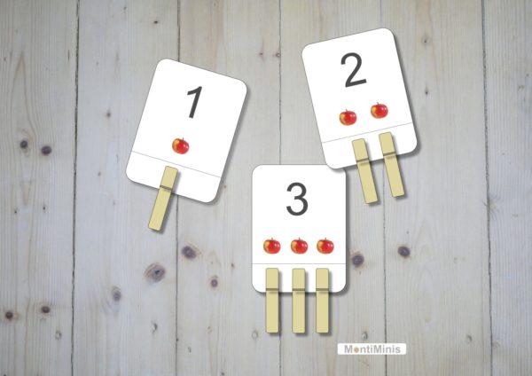 Apfel-Zähl-/Klammerkarten, Montessori, Unterrichtsmaterial, Sachunterricht, Spielidee, Apfelzeit