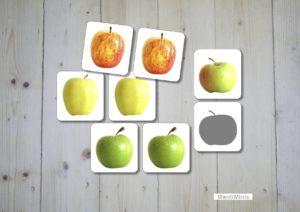 Apfelsorten Memory, Montessori, Sachunterricht, Spielideen, Apfelzeit, Montiminis