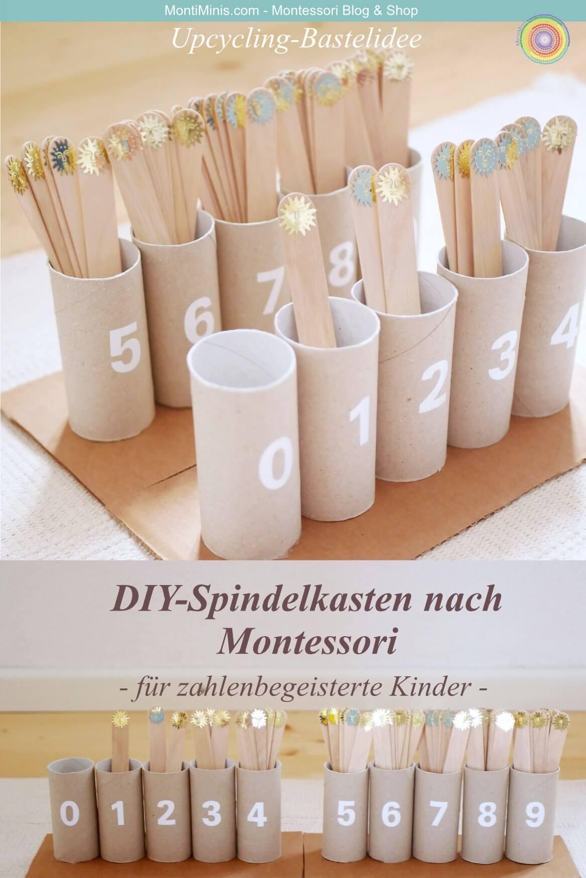 DIY-Montessori Spindelkasten, Spielidee für Kinder, Zählen lernen, Upcycling, Basteln mit Klorollen- MontiMinis