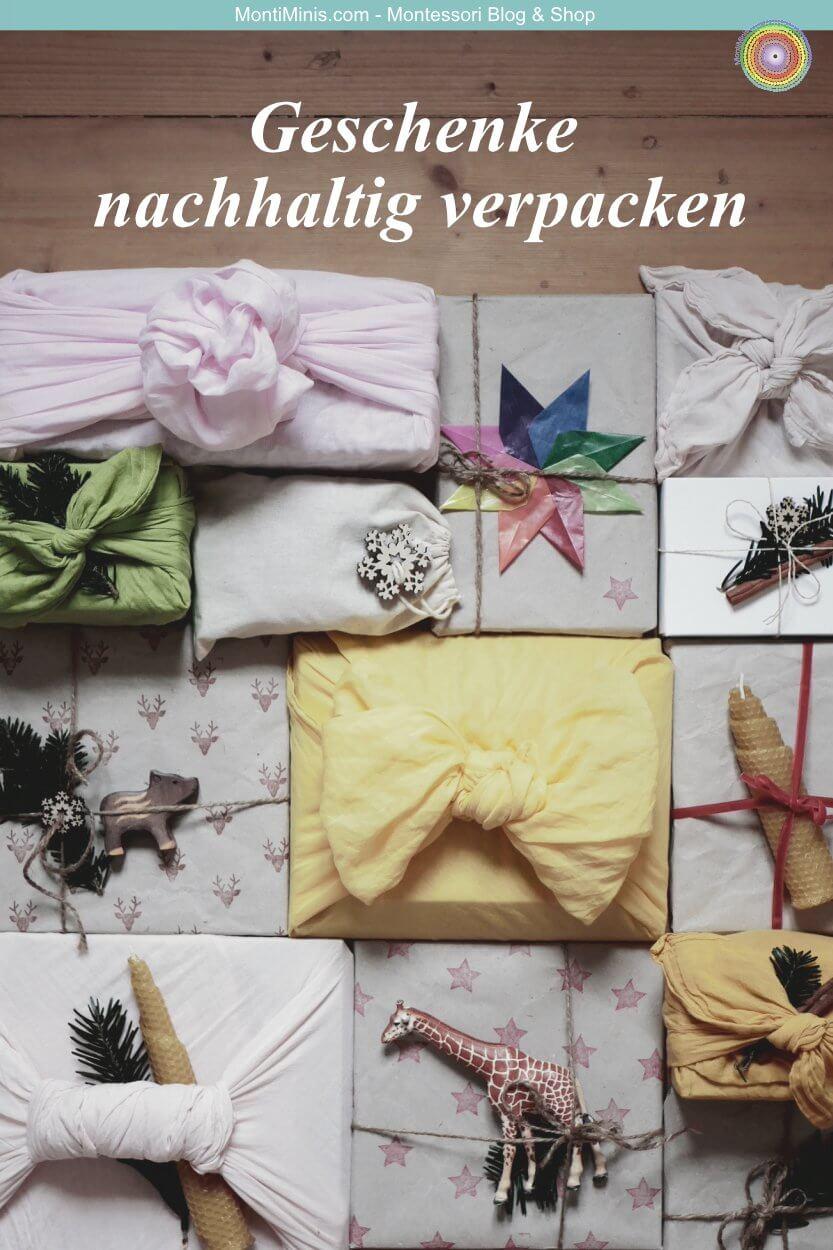 Geschenke nachhaltig verpacken upcycling weihnachten mit kindern bastelideen furoshiki-montiminis