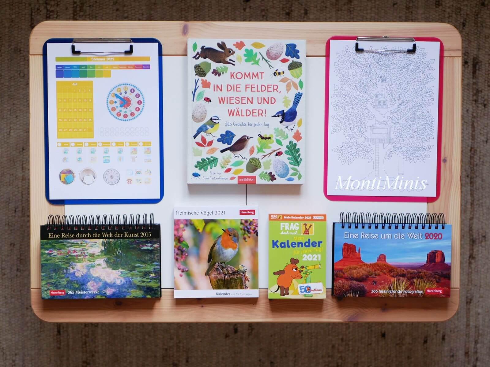 Kinderkalender-Kalender für Kinder-Frag die Maus Kalender, Kommt in die Felder, Wiesen und Wälder, MontiMinis Baumkalender, Wetterbaum, Rund um die Welt Kalender, MontiMinis Kalender