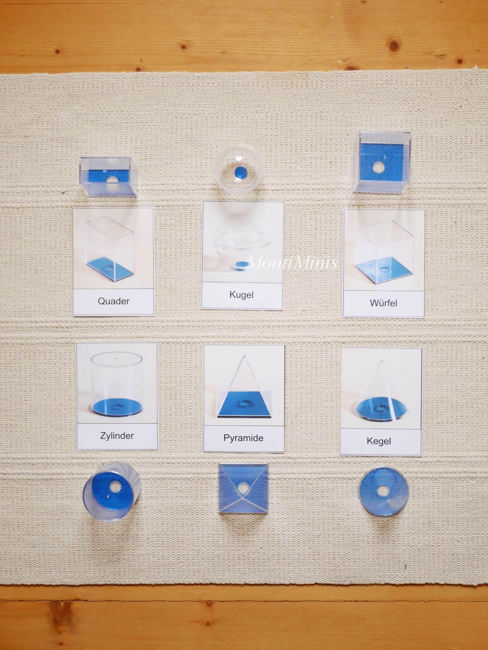 Mathematik-Aktionstablett: 3D-Geometrische Figuren-Mathe-Spielideen- Spielerisch lernen, Montessori Zuhause, Unterrichtsmaterial, Kindergarten, Vorschule & Grundschule- montiminis.com