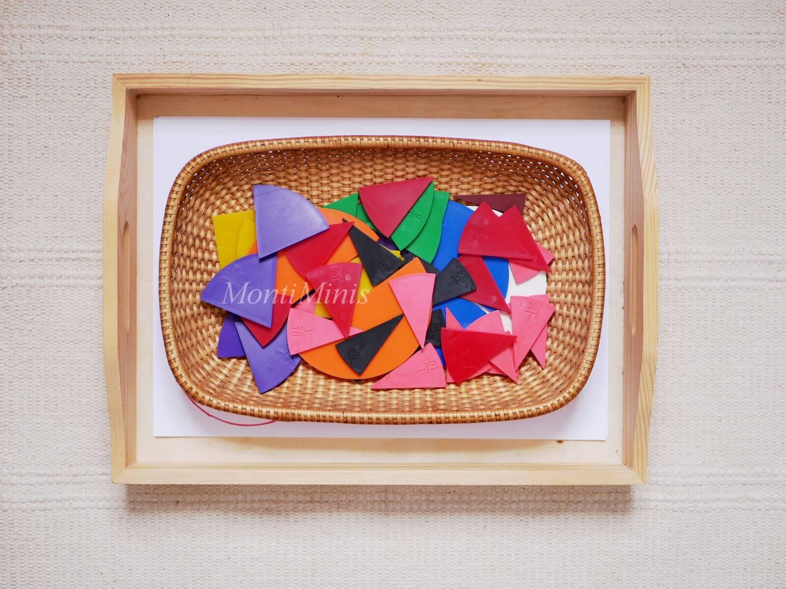Mathematik-Aktionstablett: Bruchrechenkreise-Mathe-Spielideen-Spielerisch lernen, Montessori Zuhause, Unterrichtsmaterial, Kindergarten, Vorschule & Grundschule-montiminis.com