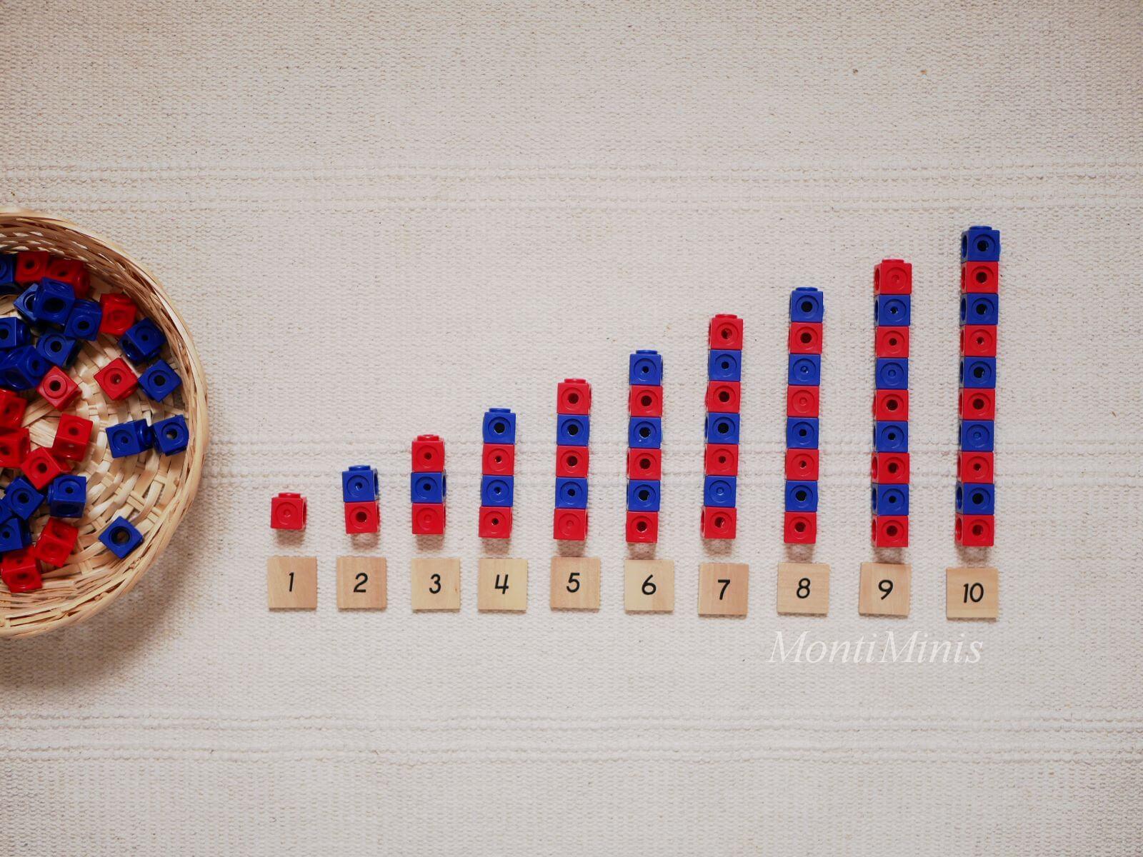 Mathematik-Aktionstablett: Dick-System Steckwürfel-Mathe-Spielideen-Spielerisch lernen, Montessori Zuhause, Unterrichtsmaterial, Kindergarten, Vorschule & Grundschule-montiminis.com