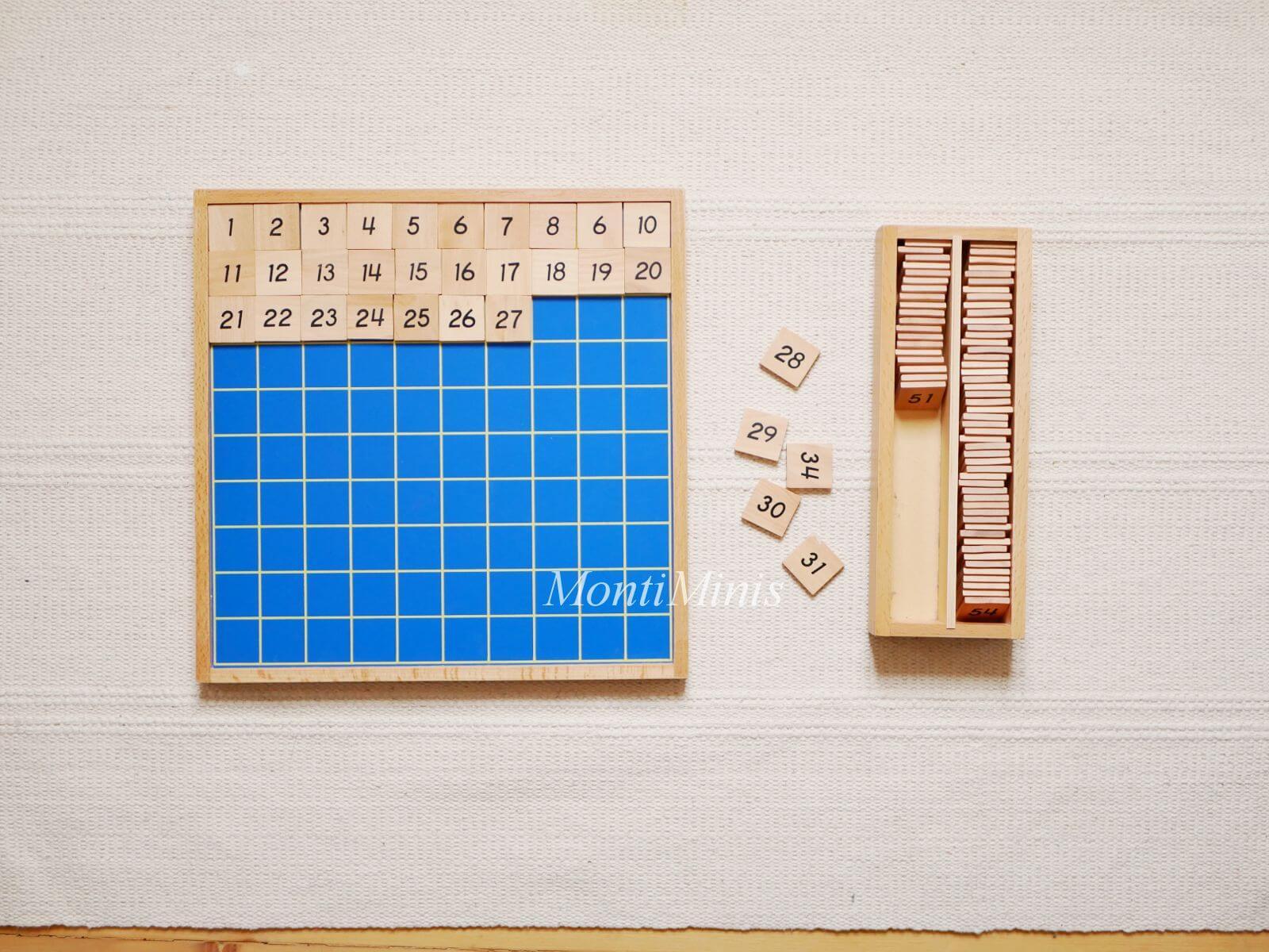 Mathematik-Aktionstablett: Montessori Hunderter Brett-Mathe-Spielideen- Spielerisch lernen, Montessori Zuhause, Unterrichtsmaterial, Kindergarten, Vorschule & Grundschule- montiminis.com