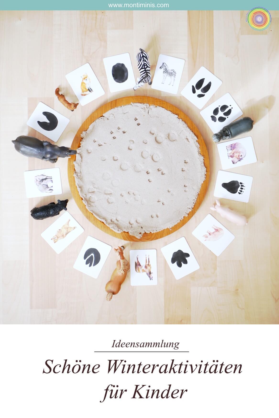 Schöne Winteraktivitäten für Kinder - Riesige Ideensammlung für Winter-Spielideen, Basteln im Winter mit Kindern, Wunschlichter, DIY-Knete, Sensory Play, Eislicht, Fenstersterne, Wilden Tieren auf der Spur, Bügelperlen, MontiMinis.com