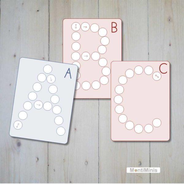 Lernmaterial Montessori inspiriert Glasnugget Muggelsteine Buchstabenkarten, ABC-Lernkarten